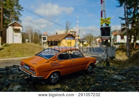 Stare Splavy, Czech Republic - March 06, 2019: Orange Model Of Legendary Czechoslovak Car Skoda 110R