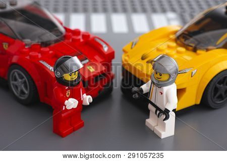 Tambov, Russian Federation - March 09, 2015 Lego Drivers Minifigures By Lego Speed Champions And His
