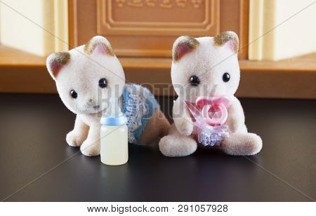 Tambov, Russian Federation - October 04, 2013 Sylvanian Family Kittens Toy Figures Sitting In Front