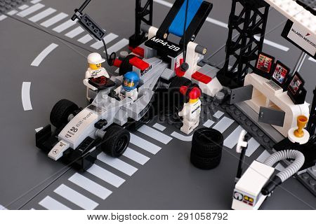 Tambov, Russian Federation - June 24, 2015 Lego Mp4-29 Race Car In Mclaren Mercedes Pit Stop By Lego