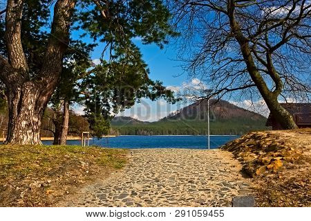 Stone Path Leading To Machovo Jezero Lake In Czech Tourist Region Of Machuv Kraj