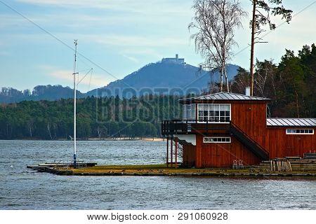 Machovo Jezero Lake And Bezdez Castle In Czech Tourist Region Of Machuv Kraj