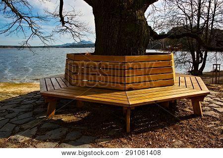 New Wooden Bench By New Machovo Jezero Lake In Czech Tourist Region Of Machuv Kraj