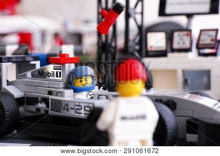 Tambov, Russian Federation - June 24, 2015: Lego Mclaren Mercedes Mp4-29 Race Car With Driver Minifi