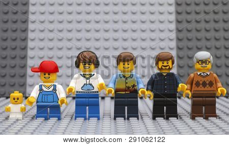 Tambov, Russian Federation - July 06, 2016 Six Lego Man Minifigures Of Different Age - From Baby To