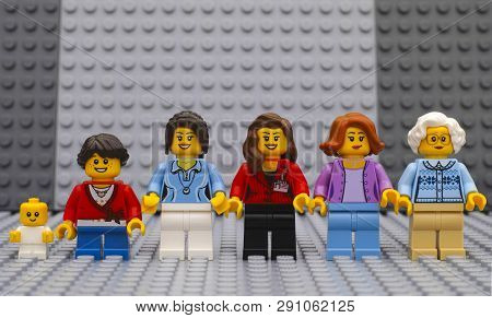 Tambov, Russian Federation - July 06, 2016 Six Lego Woman Minifigures Of Different Age - From Baby T