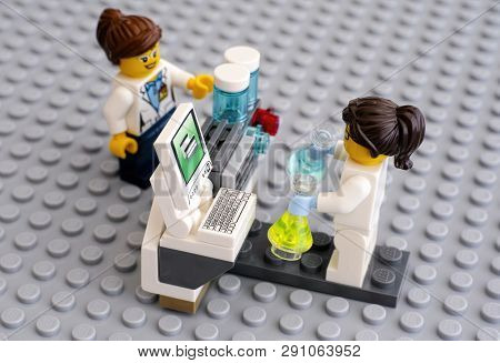 Tambov, Russian Federation - June 10, 2015 Two Lego Scientist Minifigures In Laboratory Near Compute