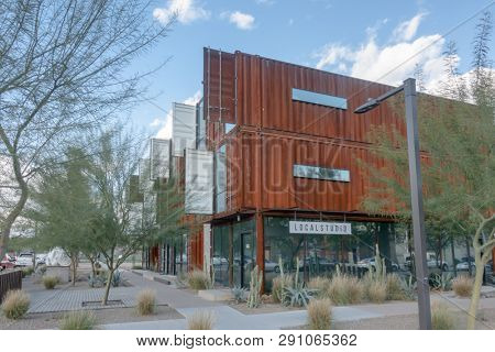 Phoenix,Az,USA, 2,17,19 Local Studio, a Design Build firm located in Phoenix, Arizona with residential units on the second level & semi-commercial units using sustainable shipping containers.