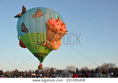 Hudson, Wisconsin  - January 27: Special Shape Hot Air Balloon Launch Preparation During Hudson Hot