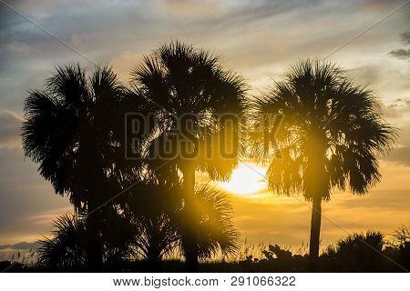 Sunset at Sarasota Beach in Sarasota, Florida.