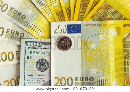 One Dime And Euro Banknotes Cash Isolated On White