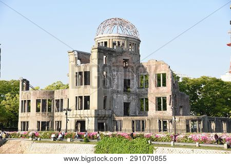 Hiroshima, Japan - April 28, 2018: Atomic Bomb Dome Or A-bomb Dome (genbaku Dome-mae) , A Part Of Th