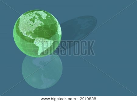 Green Glass World Globe