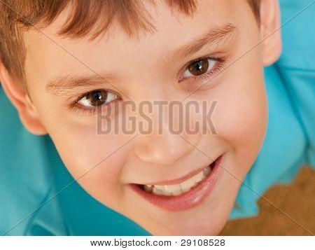 Extreame Closeup Portrait Of A Smiling Boy