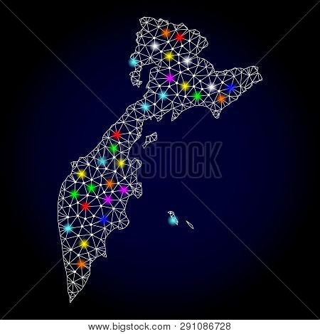 Polygonal Vector Map Of Kamchatka Peninsula With Glow Effect On A Black Background. Abstract Triangl