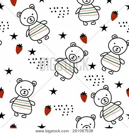 Bears, Strawberry Forest Scandinavian Seamless Pattern For Kids Clothes, Wrapping And Other Purposes