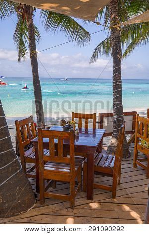 Chair And Table On The Beach For Breakfast