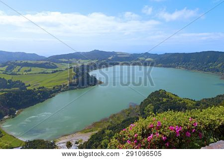 Lake Furnas (lagoa Das Furnas) On Sao Miguel Island, Azores, Portugal. A View Of The Lake From The P