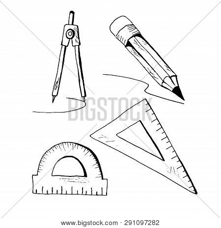 Compasses, Rulers And Pencil. Doodle Set For Back To School Design.
