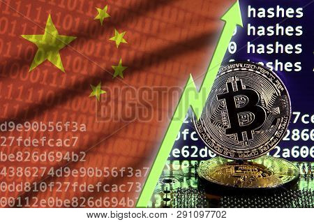 China Flag And Rising Green Arrow On Bitcoin Mining Screen And Two Physical Golden Bitcoins