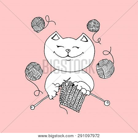 Cute Cat Knits With Threads In Hands, Hand Drawn Vector Illustration. Can Use For Logo, Stickers, Kn