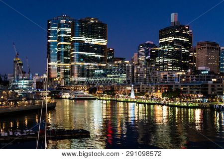 23rd December 2018, Sydney Nsw Australia : King Street Wharf Nightscape With View Of International T