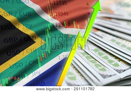 South Africa Flag And Chart Growing Us Dollar Position With A Fan Of Dollar Bills