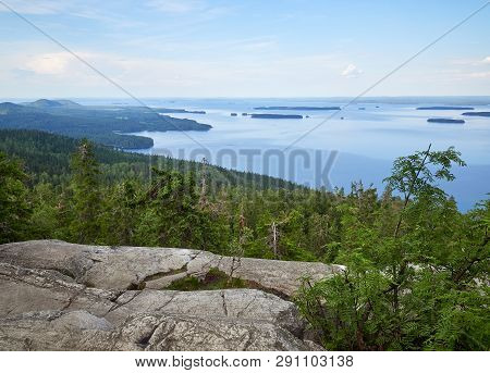 Summer Landscape View Over The Lake Pielinen From The Top Of The Ukkokoli, A Fell At The Koli Nation