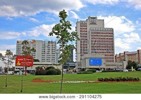 Minsk, Belarus - 13 August 2018: City Center Near Pobediteley Avenue.  It Was Named Pobediteley Aven
