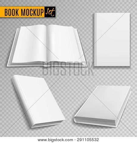 White Book Mockup. Realistic Books Cover Blank Brochure Covers Paperback Empty Textbook Magazine Har