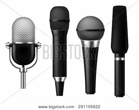 Microphones Realistic. Mic Conference News Media Voice Concert Microphone Meeting Interview Journali