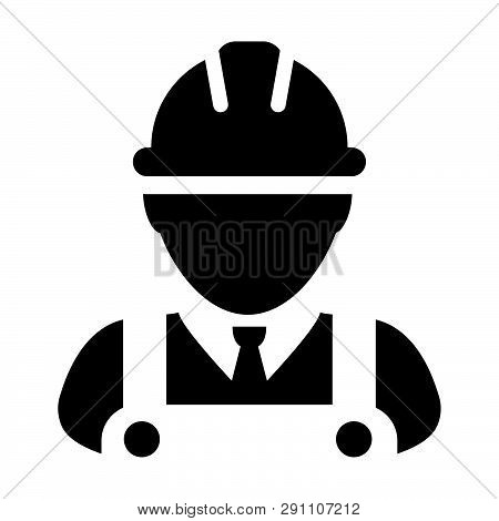Supervisor Icon Vector Male Construction Worker Person Profile Avatar With Hardhat Helmet And Jacket