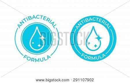 Antibacterial Formula Vector Icon. Antibacterial Soap Or Antiseptic Gel Label, Toilet Bath Gel Clean