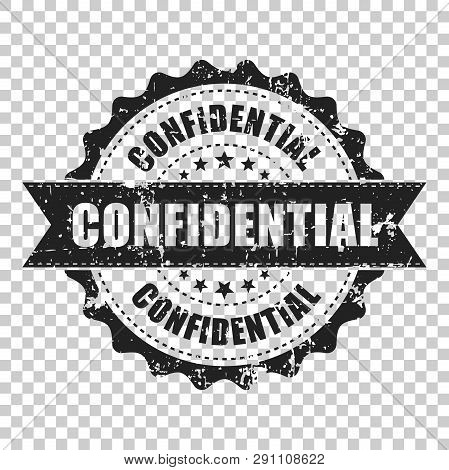 Confidential Scratch Grunge Rubber Stamp. Vector Illustration On Isolated Transparent Background. Bu