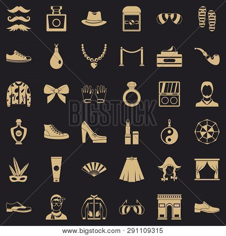 Vogue Life Icons Set. Simple Style Of 36 Vogue Life Vector Icons For Web For Any Design