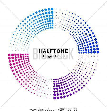 Halftone Colorful Circle Frame Abstract Dots Logo Emblem Design Element. Half Tone Circular Icon. Di