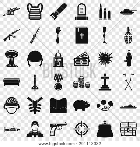 War Crime Icons Set. Simple Style Of 36 War Crime Vector Icons For Web For Any Design