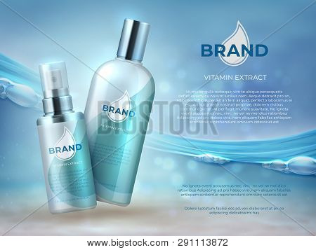 Cosmetic Product Background. Blue Water Beauty Skin Care Fresh Moisture Cream Bottle Face Mask. Vect