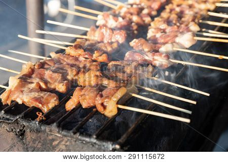 Thai Style Barbecue Pork,thai Traditional Food,street Food