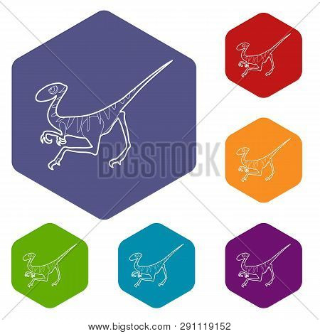 Velociraptor Icons Vector Colorful Hexahedron Set Collection Isolated On White