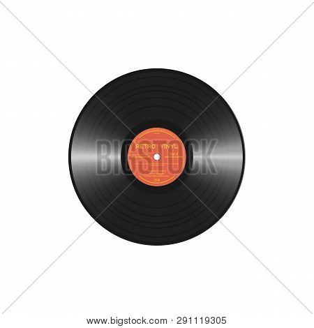 Retro Style Vinyl Disc With Label And Tracks. Black Polyvinyl Chloride Disc. Realistic Vector Vinyl