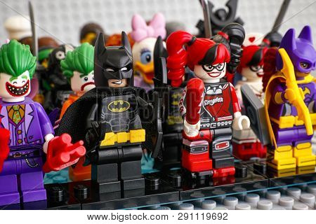 Tambov, Russian Federation - February 05, 2018 Lego Minifigures Standing In Rows. In First Row - Bat