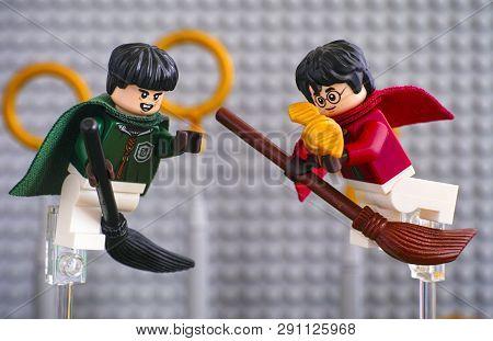 Tambov, Russian Federation - January 20, 2019 Quidditch Match Lego Harry Potter Play Set. Marcus Fli