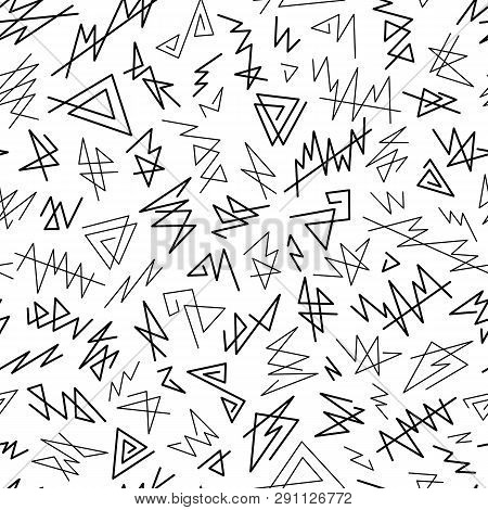 Abstract Graphic Uncolored Seamless Pattern Of Black Angular Lines Scribbles On White Backdrop. Mono