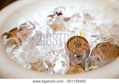 Beer And Beverage In The Ice Storage With The Led Light Hilight At The Bottom Ready To Serve.