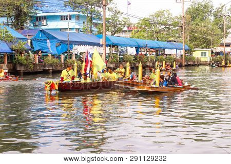 Samutsakorn, Thailand - July 27, Traditional Parading Of Candles To Temple By The River Ceremony At