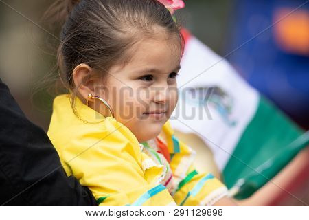 Chicago, Illinois , Usa - September 9, 2018 The 26th Street Mexican Independence Parade, Mexican Gir