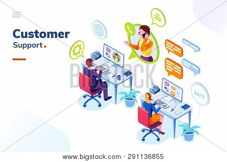 Customer Service People Office Or Isometric Call Center Room. Man Support And Woman Phone Assistant,