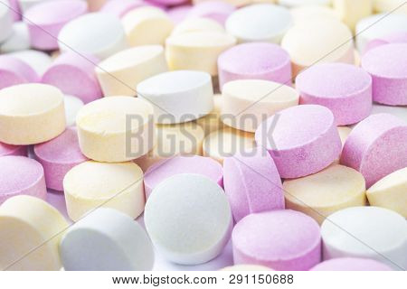 Colorful Medicine Pills And Drugs In Close Up. Different Kinds Of Multicolored Pills. Assorted Pills