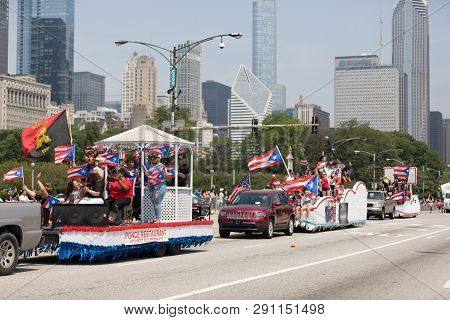 Chicago, Illinois, Usa - June 16, 2018: The Puerto Rican Day Parade, Puerto Rican People On Floats C